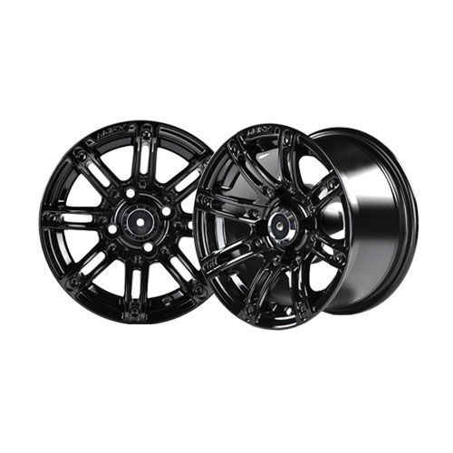 Illusion 12×7 Black Wheel with Silver Inserts