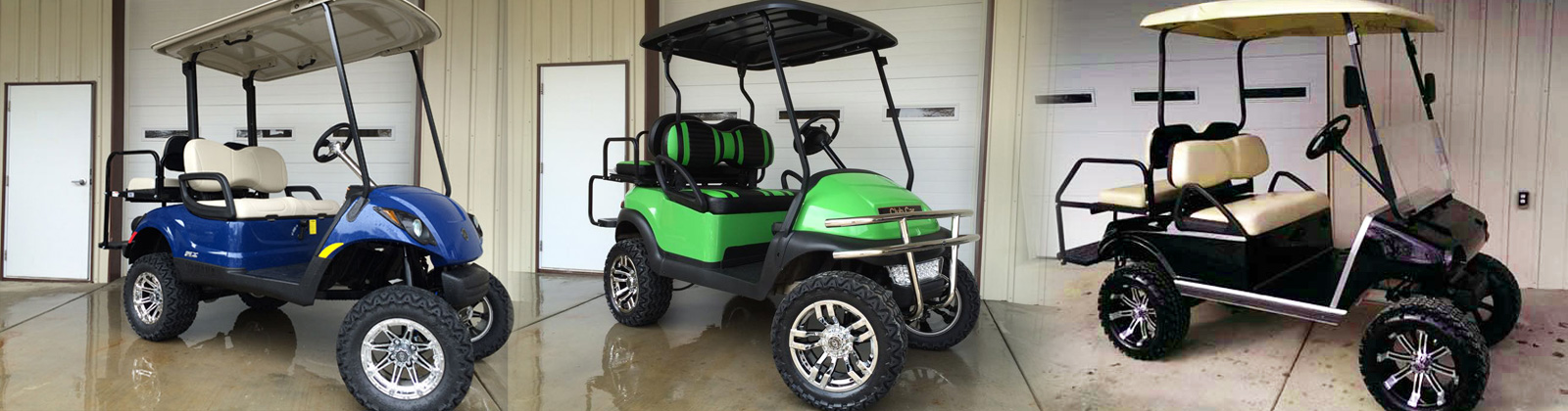 New Club Cars, Yamaha and EZGO golf cars available in many colors, available in gas or electric, lifted and non lifted versions.